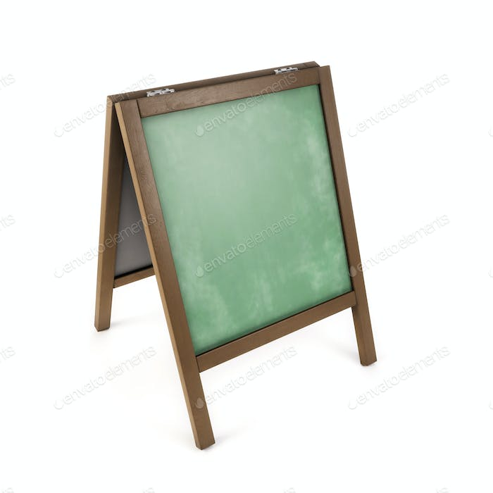 3d illustration of school blackboard over white background