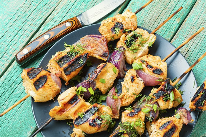 Bbq meat on wooden skewers