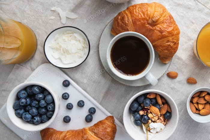 Top view of breakfast table with coffee