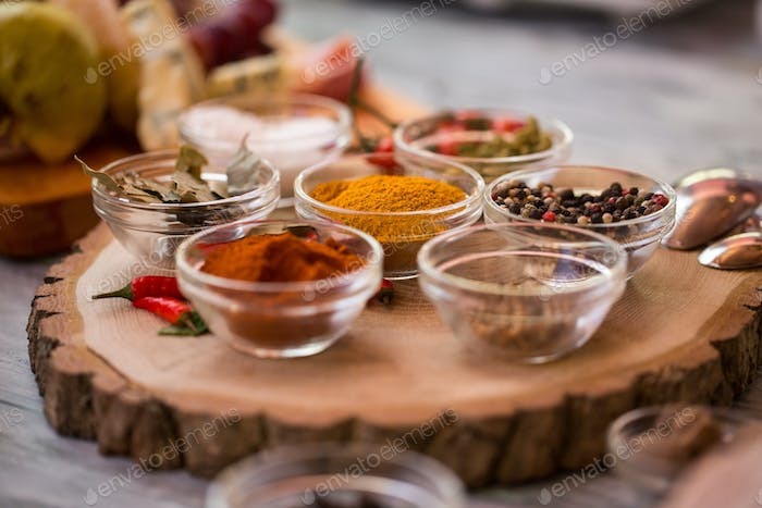 Bowls with different spices