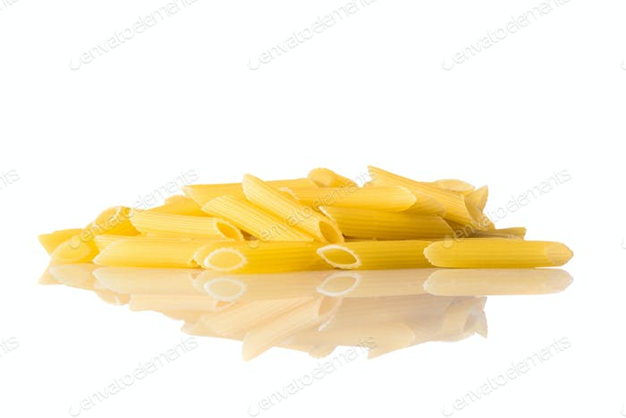 Yellow Penne Pasta on White Background