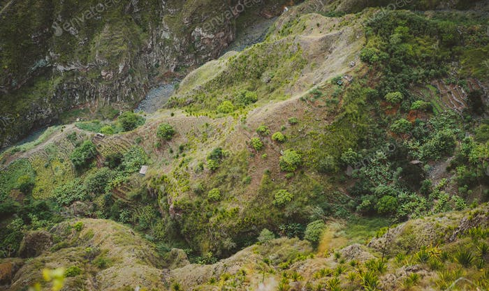 Santo Antao, Cape Verde. Mountain ridge with dry river bed of canyon with steep cliff and winding