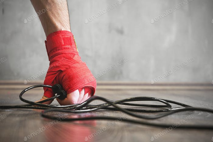 Boxer jump rope training, strength workout concept