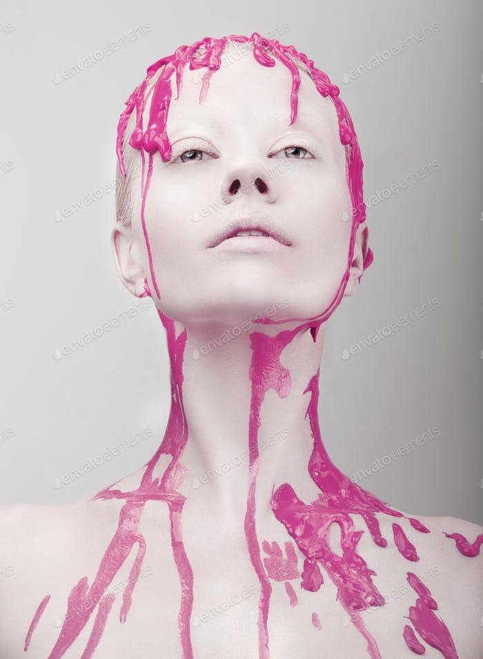 Bald Woman with Pink Paint on her Head