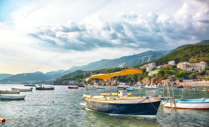 Picturesque summer view of Adriatic sea coast in Budva Riviera near Przno village