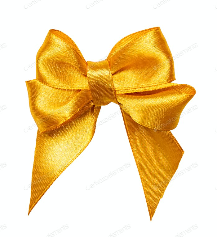 golden bow, ribbon isolated on white