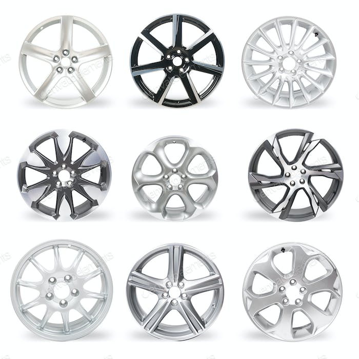 Set of 9 isolated car rims