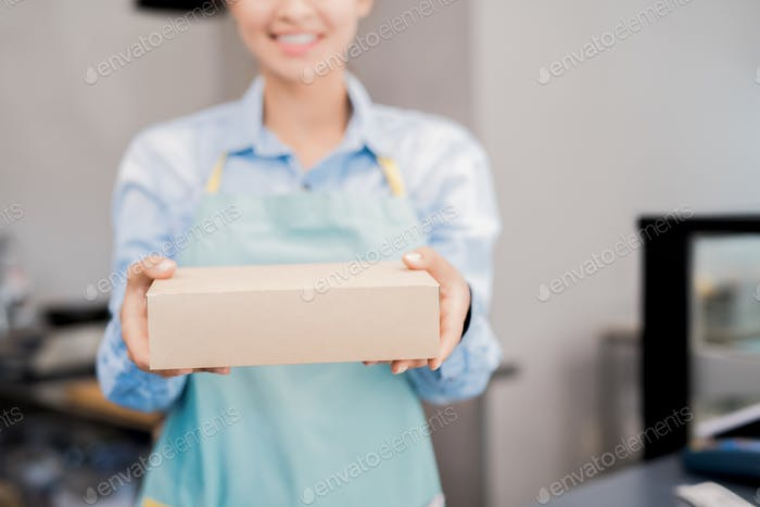 Woman Holding Box with Takeaway Food