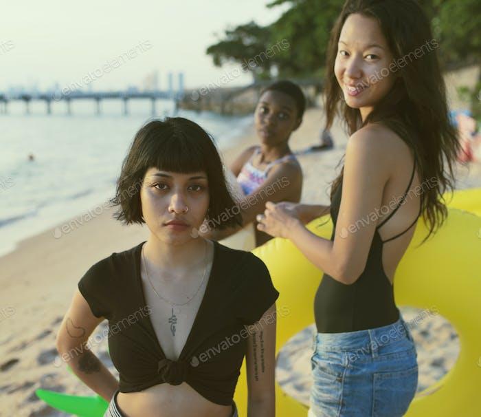 Diverse women at the beach