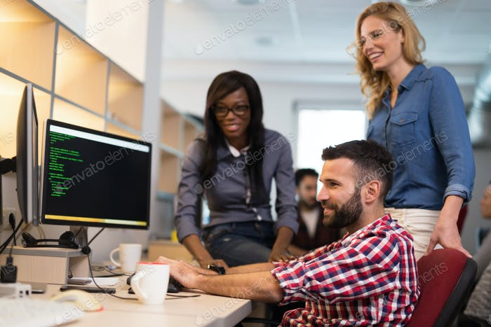 Corporate coworkers brainstorming in company