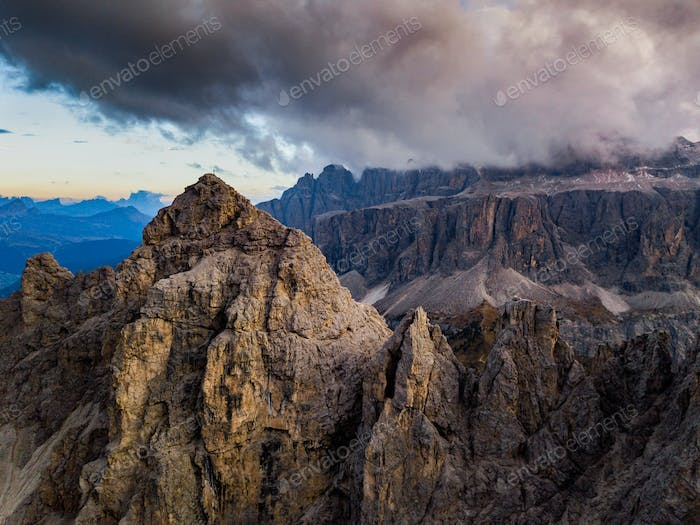 Dolomites, Italy. Landscape at Passo Gardena. Aerial photo