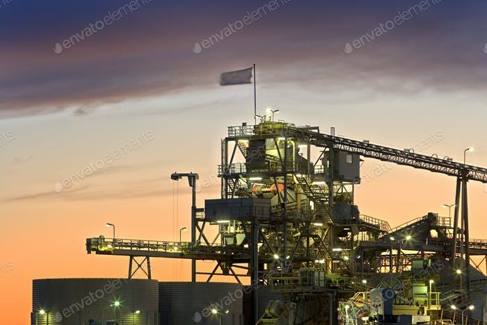 Gravel Plant At Sunset