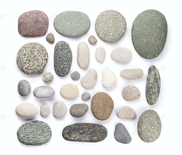 Set of various sea stones. Isolated