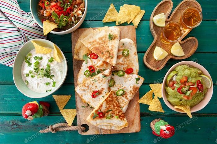 Homemade quesadillas with guacamole