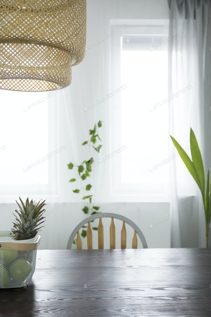 Dining room with rattan lamp