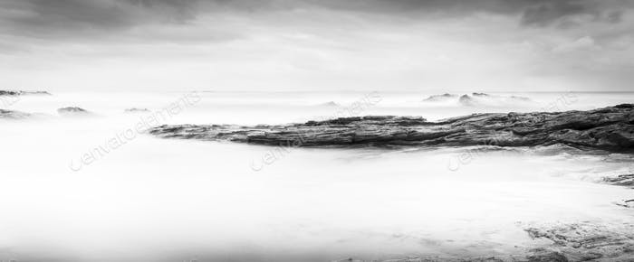 Calm Ocean Landscape Black and White