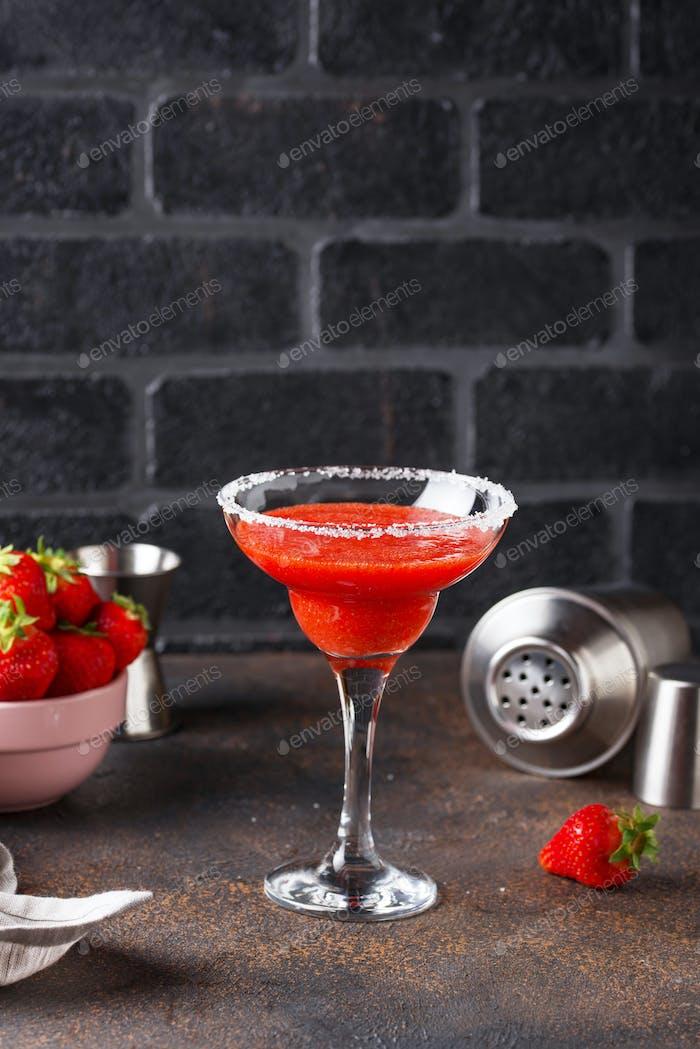 Strawberry Margarita cocktail in glass