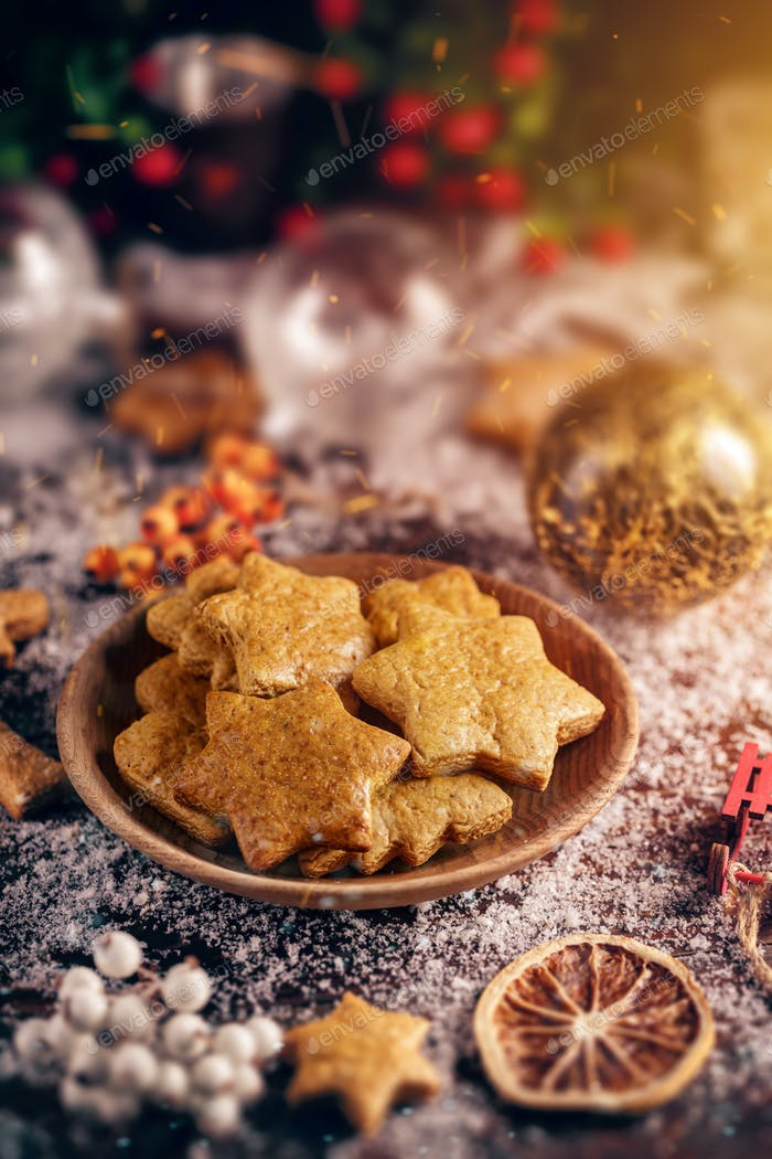 Christmas background with Christmas cookies
