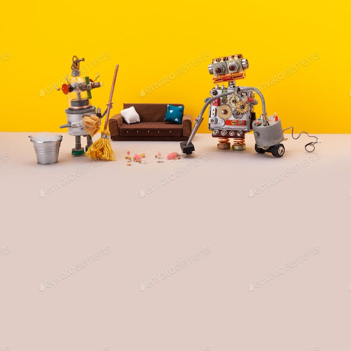 Funny domestic robots vacuuming cleaning mopping the floor.