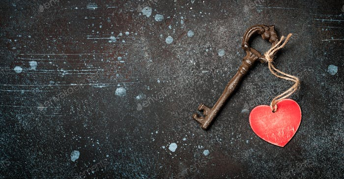 Valentine's Day background with vintage key and heart