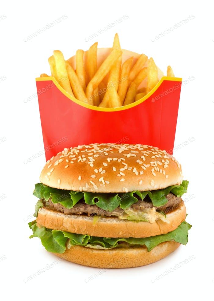 Hamburger and potato isolated