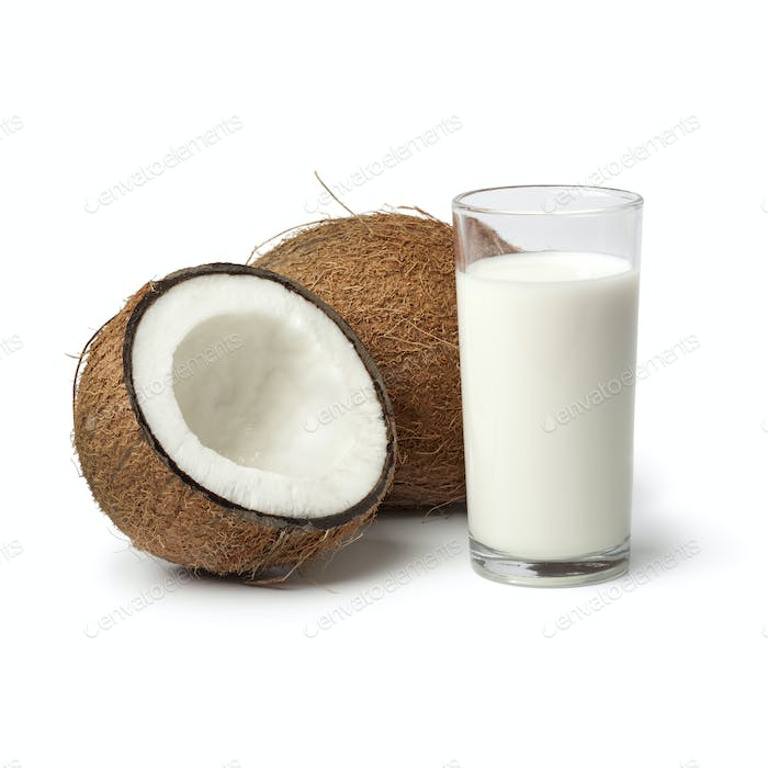 Coconut with s glass of coconut milk