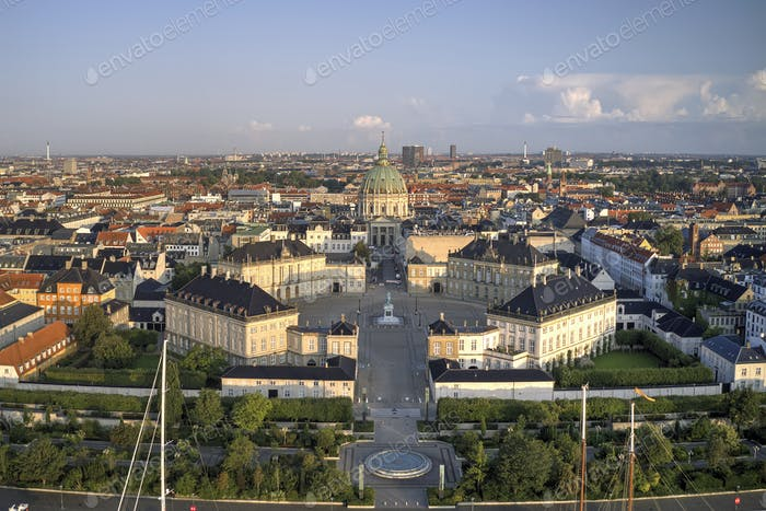 Aerial view of Amalienborg Castle located in Copenhagen, Denmark at sunrise