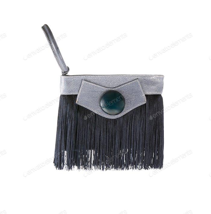Fringy blue stingray leather handbag