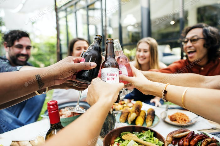 Group of friends toasting together