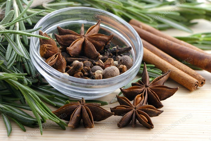 Bunch of rosemary and spice