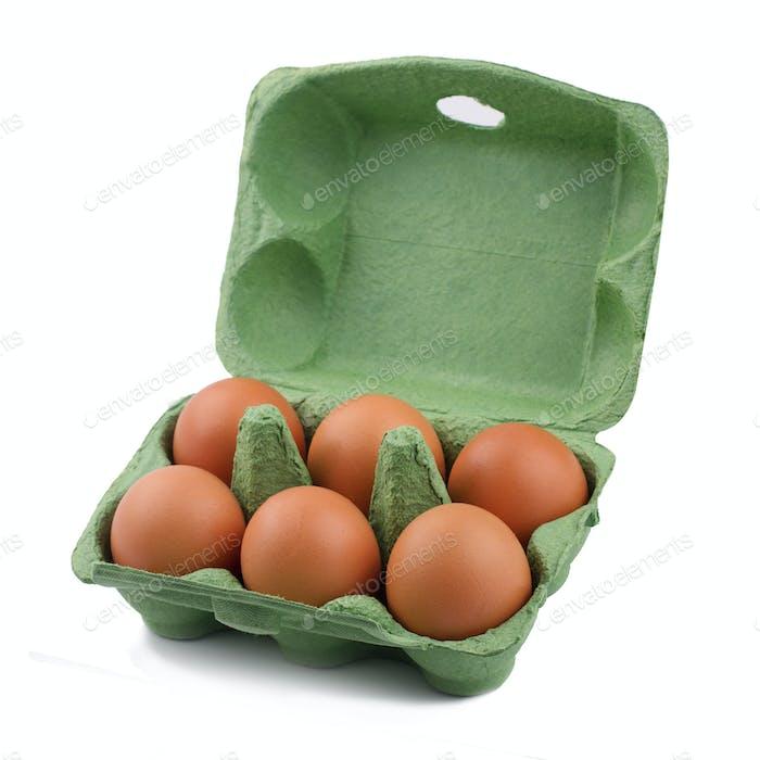 Green eco six egg cardboard open packaging