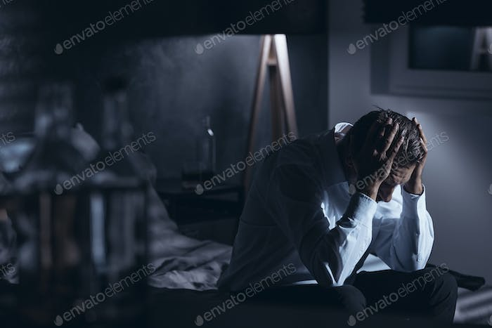 Depressed man with alcohol problem