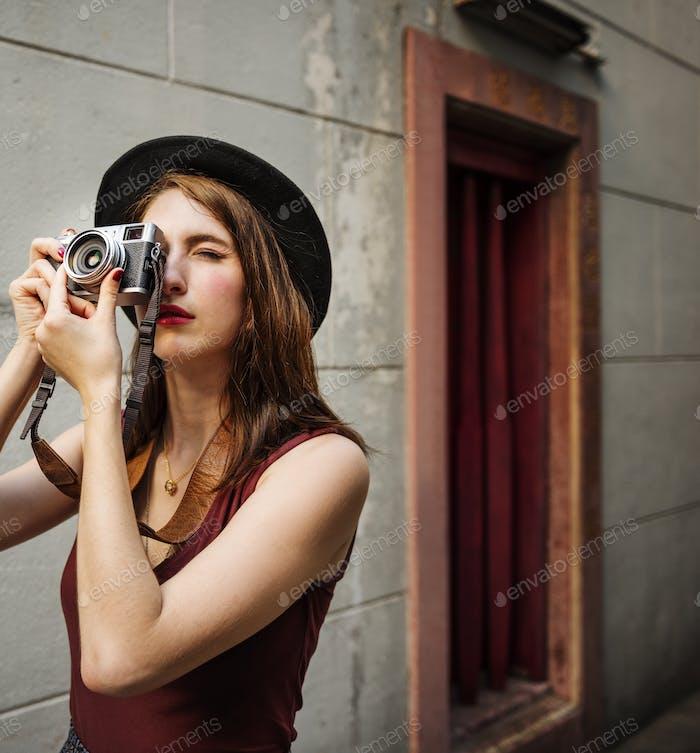 Girl Casual Camera Activity Photographer Leisure Concept