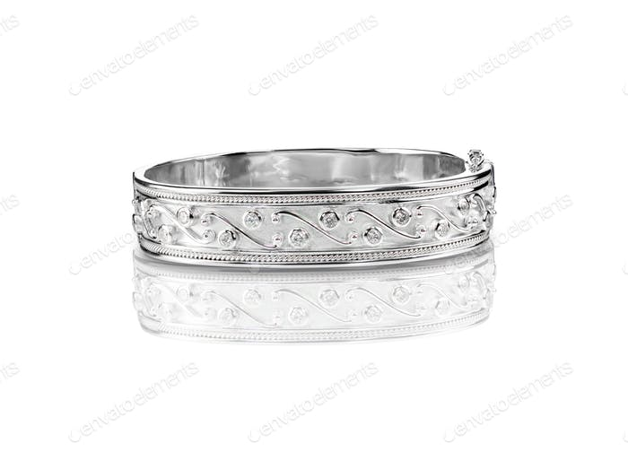SIlver diamond bangle bracelet