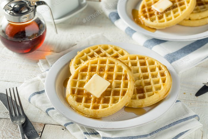 Brown Hot Freezer Waffles with Butter