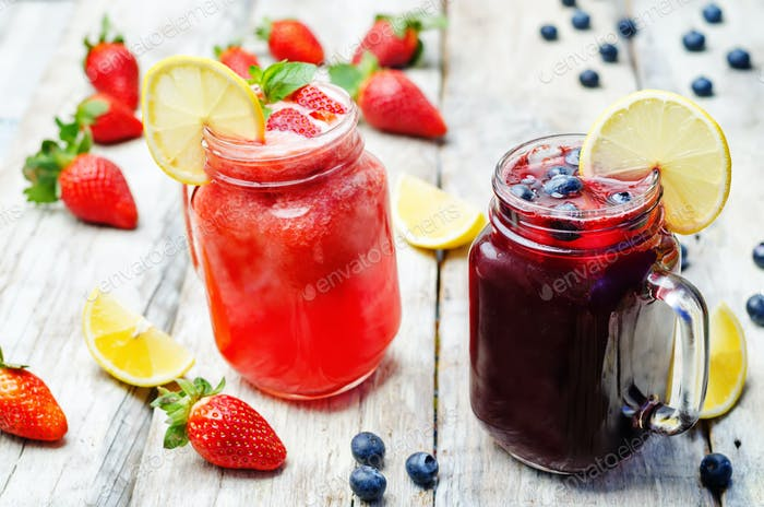 blueberry and strawberry lemonades