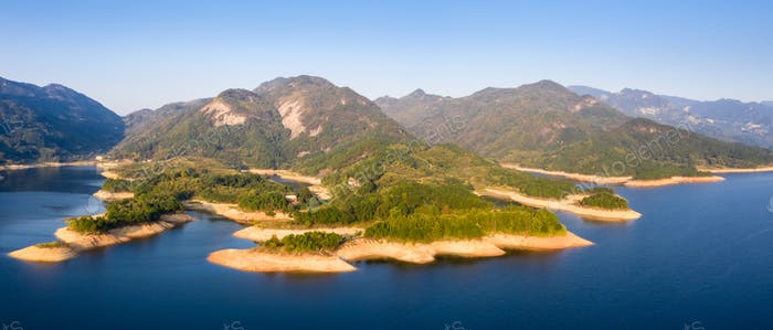 aerial view of mountain reservoir in the morning, low water levels landscape