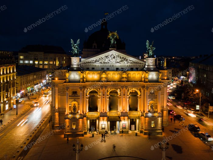 Lviv Opera House at night, Ukraine