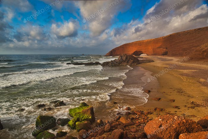 Stunning view of a Legzira beach in Morocco.