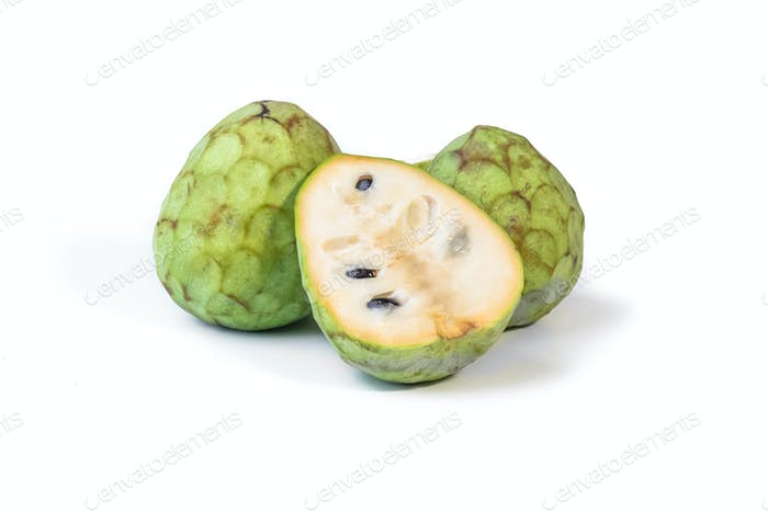 Cherimoya isolated on white background
