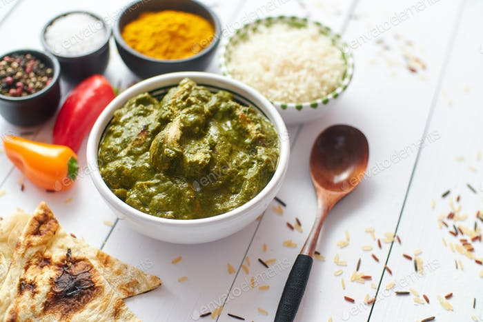 Traditional South Indian Korai Chicken Curry with Mint and Coriander
