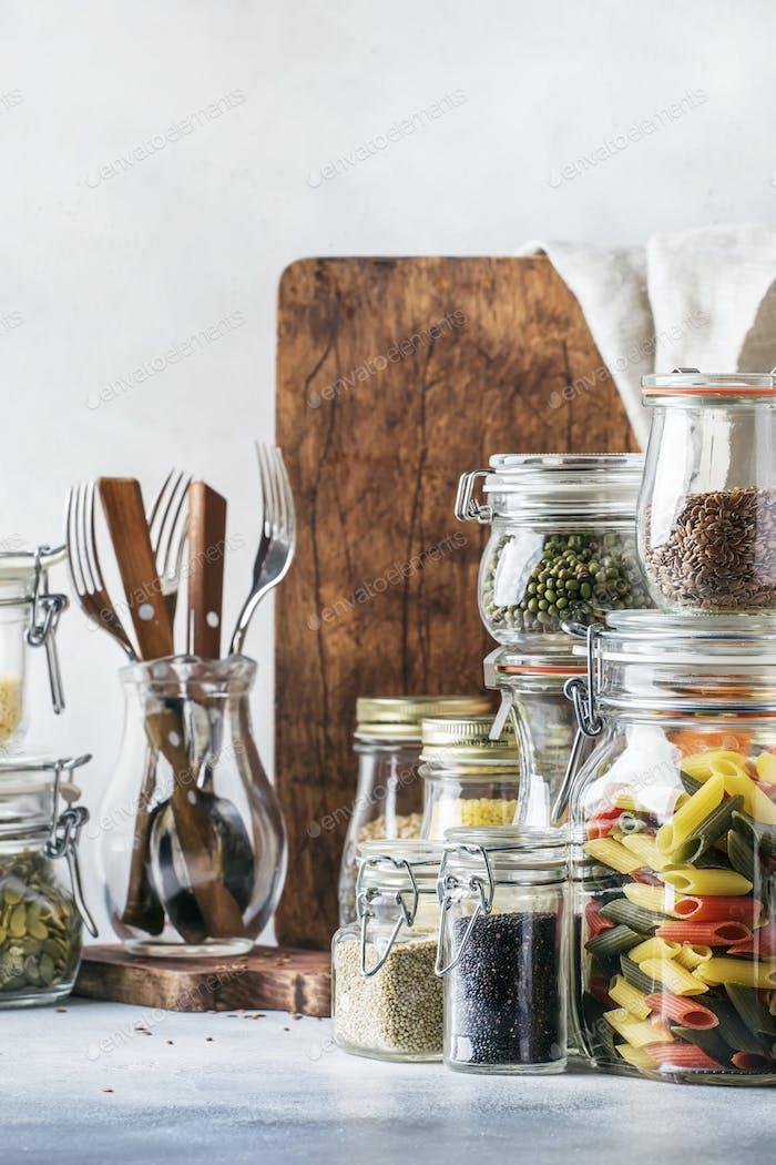 Satz von Getreide, Nudeln, Grütze, Bio-Hülsenfrüchte