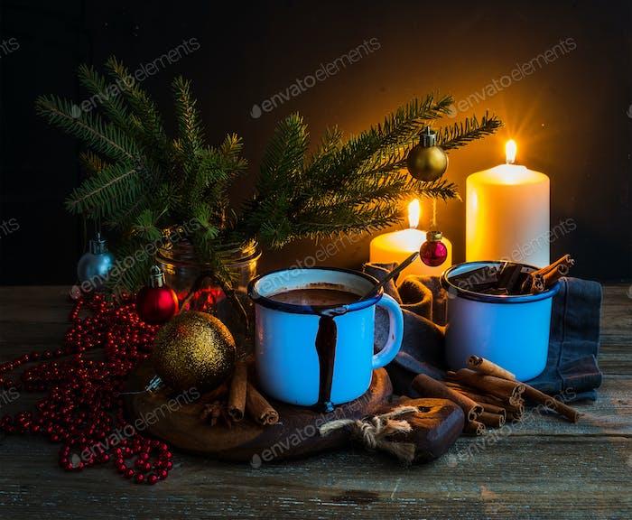 Christmas food and decorations set. Fur tree branches, mug of hot chocolate