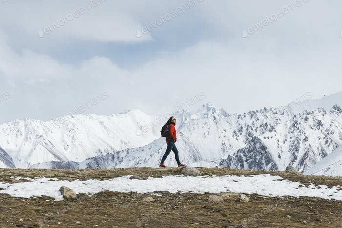 Young woman trekking in the Himalayas