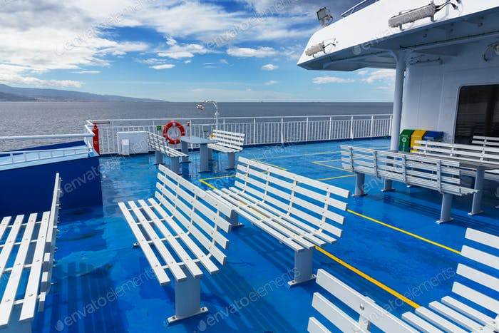Deck with Benches on a Ship
