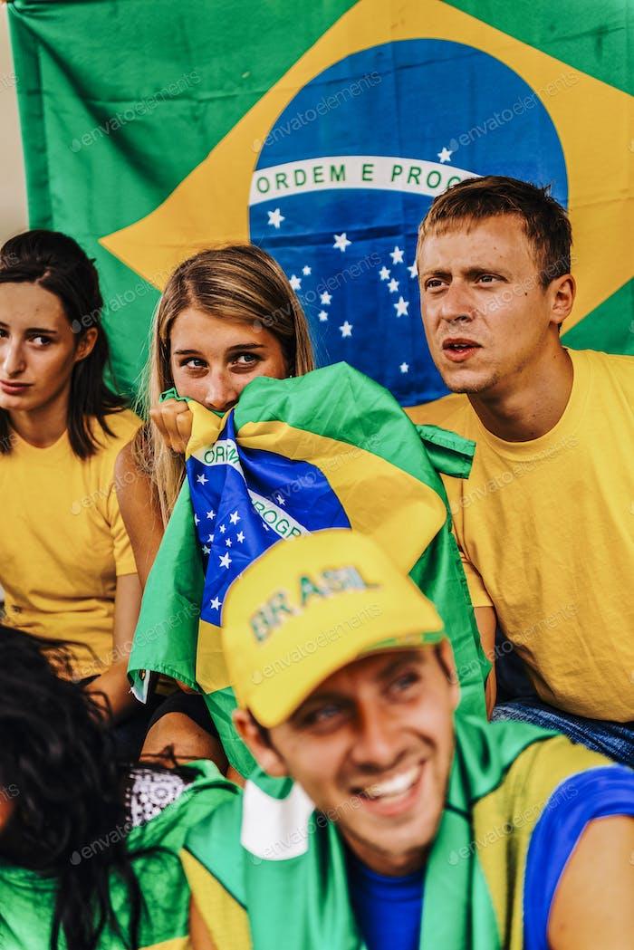 Unterstützer aus Brasilien im Stadion