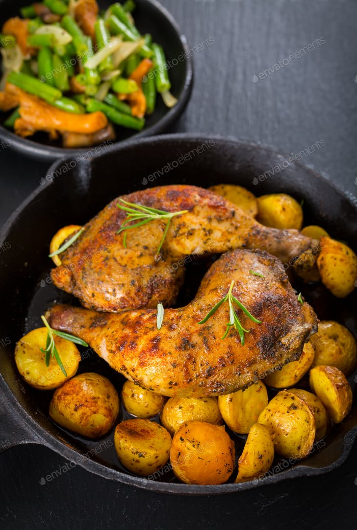 Baked chicken legs with potatos