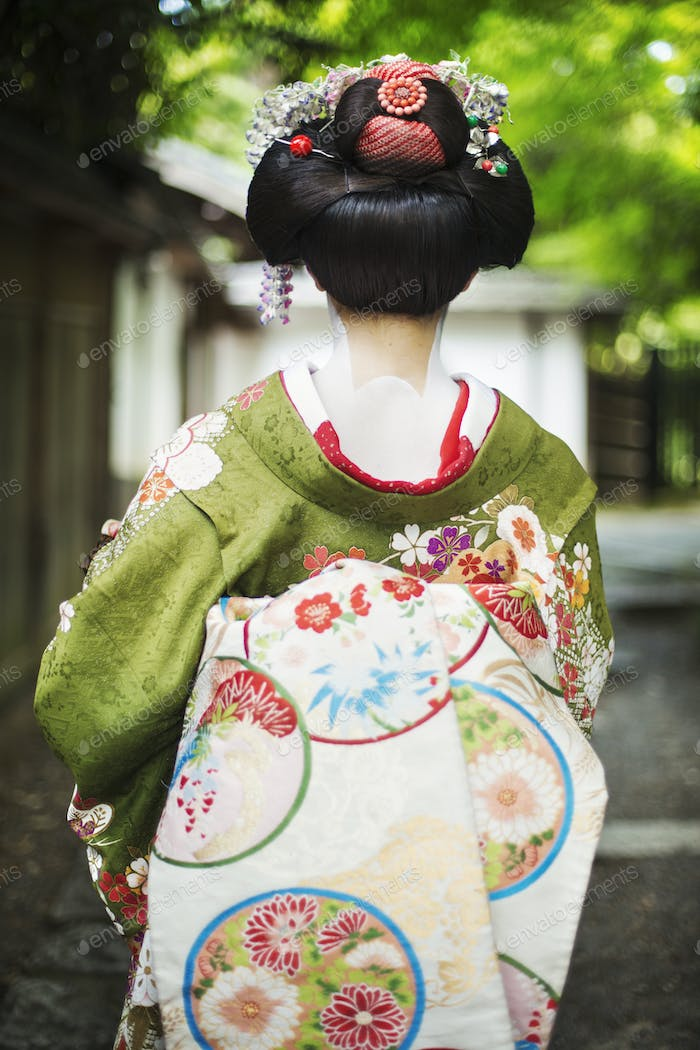 Geisha in traditional costume with hair up