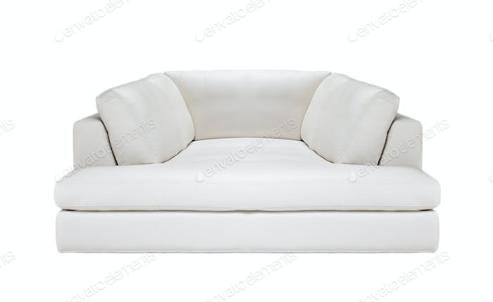 white leather sofa isolated