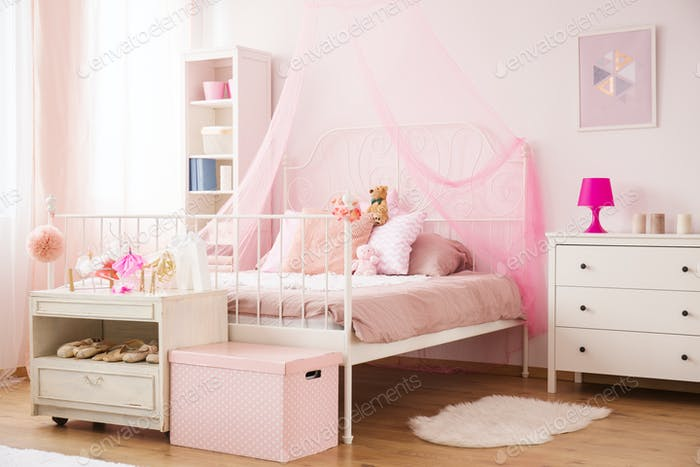Cozy child bedroom in pink